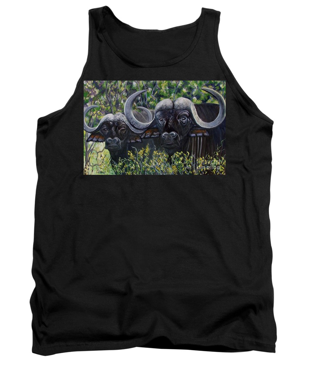Buffalo Tank Top featuring the painting Cape Buffalo First Painting by Caroline Street
