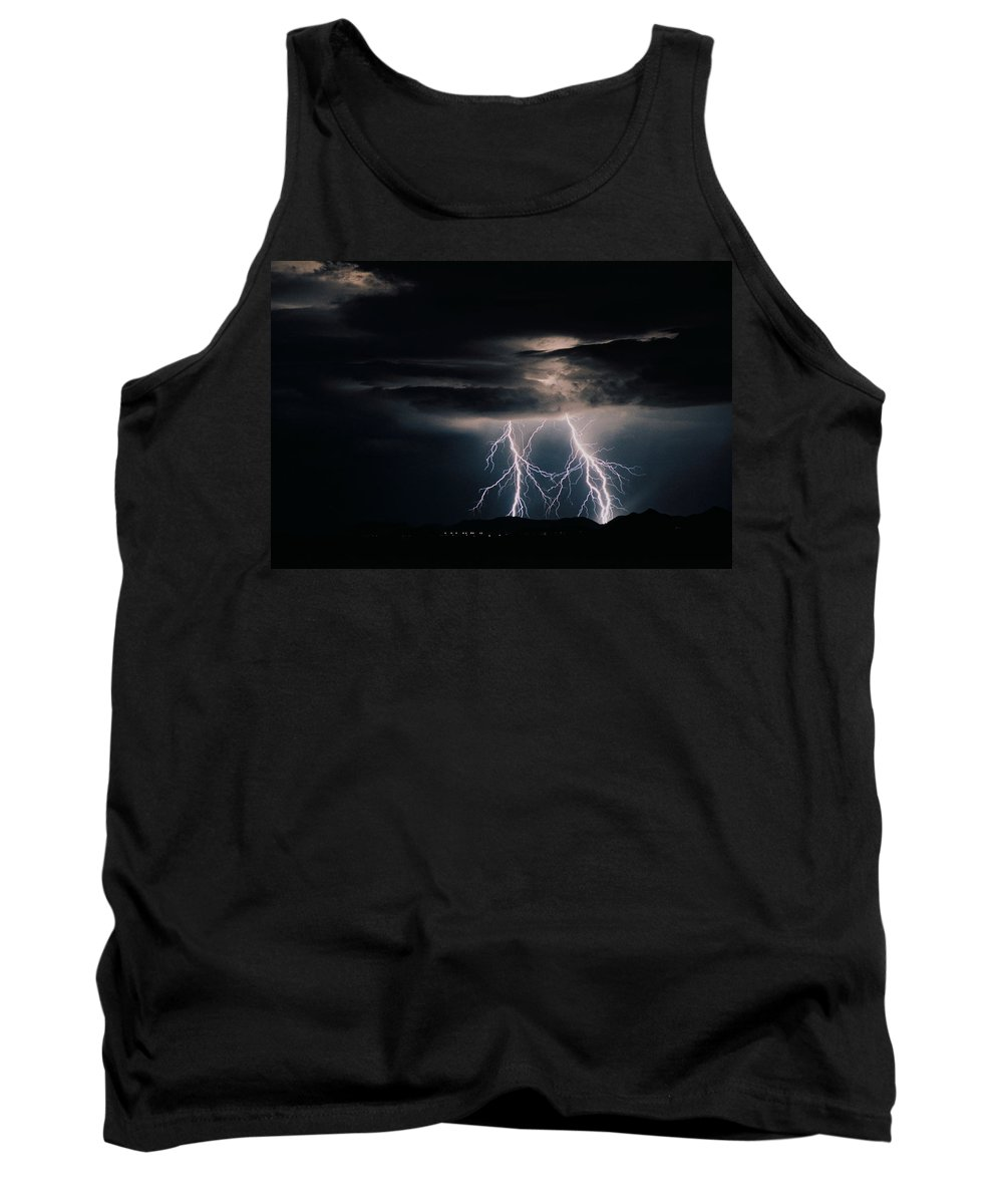 Arizona Tank Top featuring the photograph Carefree Lightning by Cathy Franklin
