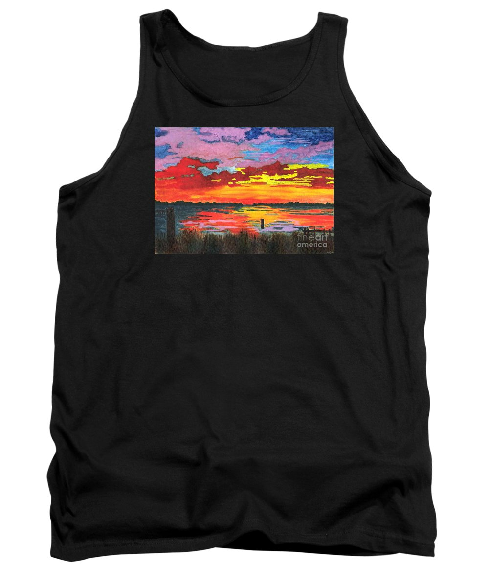 Original Painting Tank Top featuring the painting Carolina Sunset by Patricia Griffin Brett