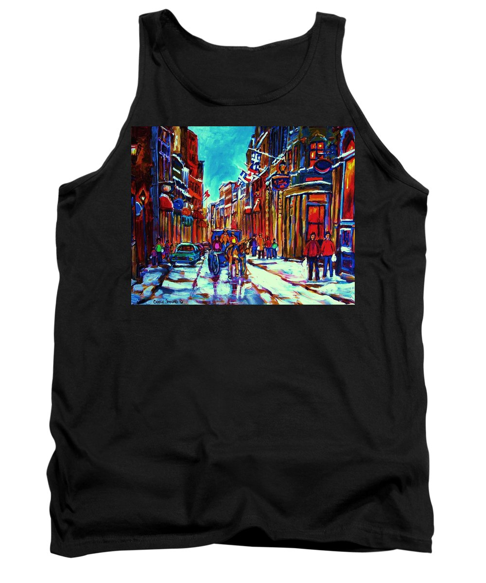 Old Montreal Tank Top featuring the painting Carriage Ride Through The Old City by Carole Spandau
