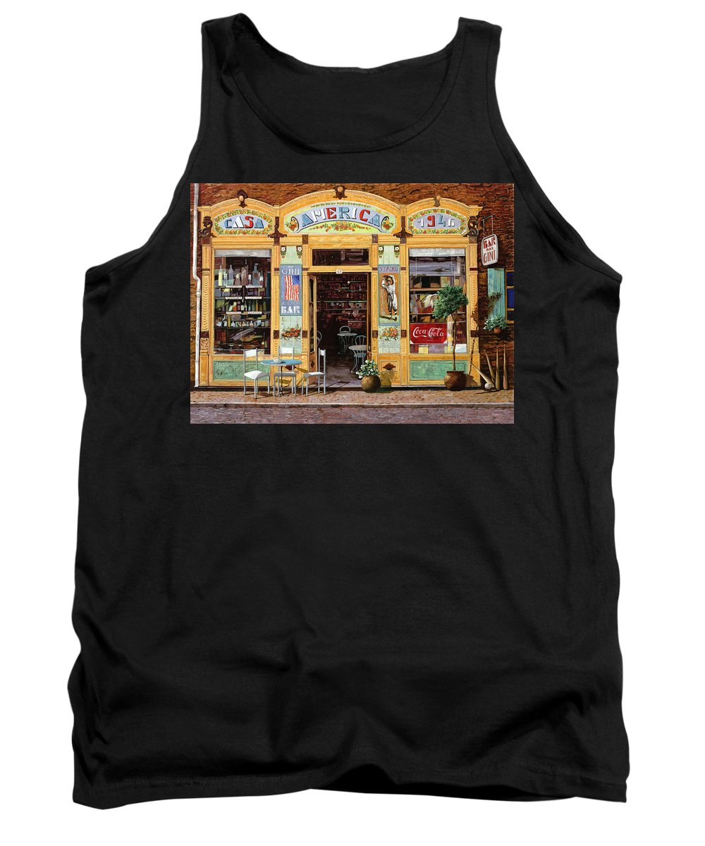 Coffe Shop Tank Top featuring the painting Casa America by Guido Borelli