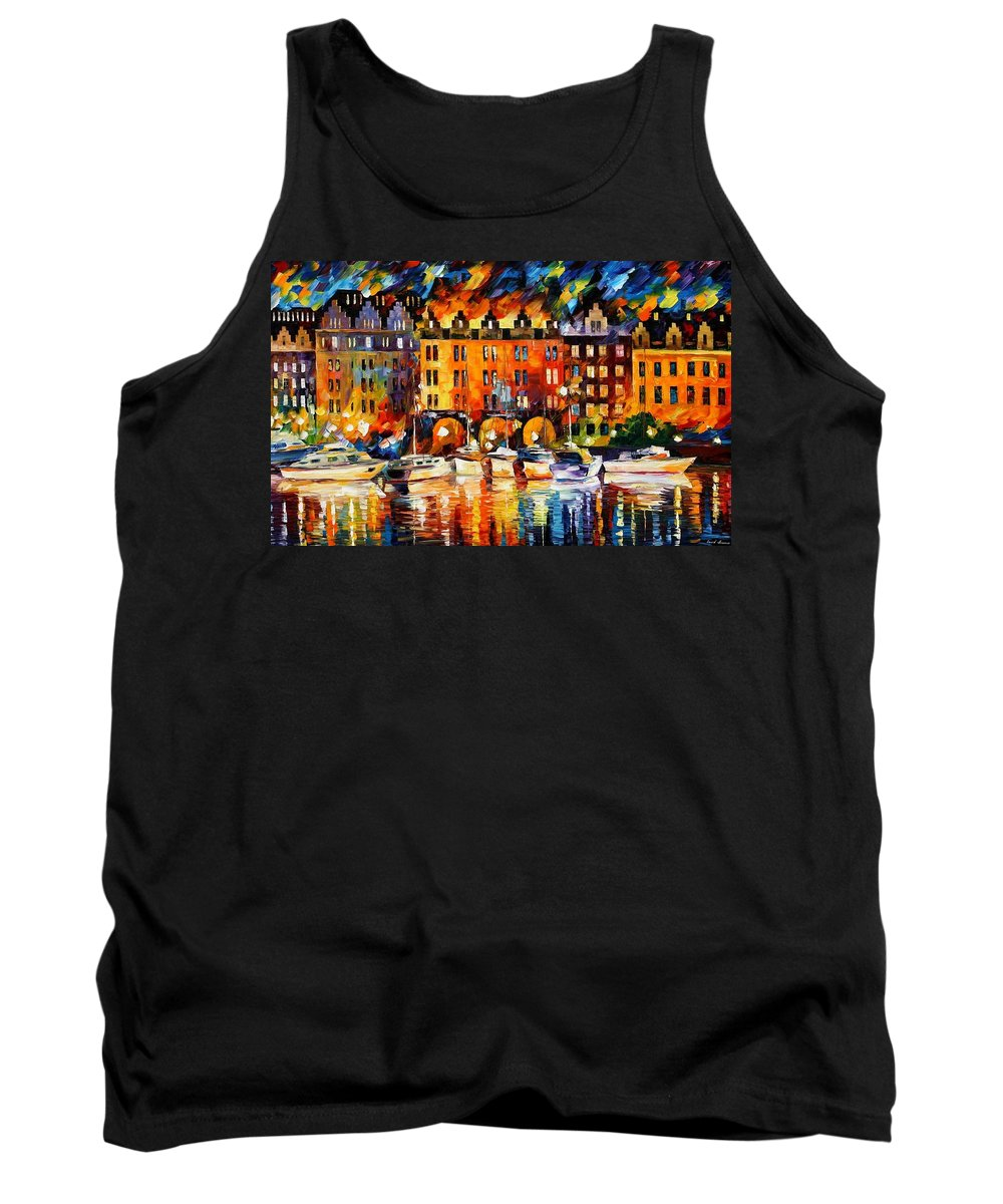 Afremov Tank Top featuring the painting Castle By The River by Leonid Afremov
