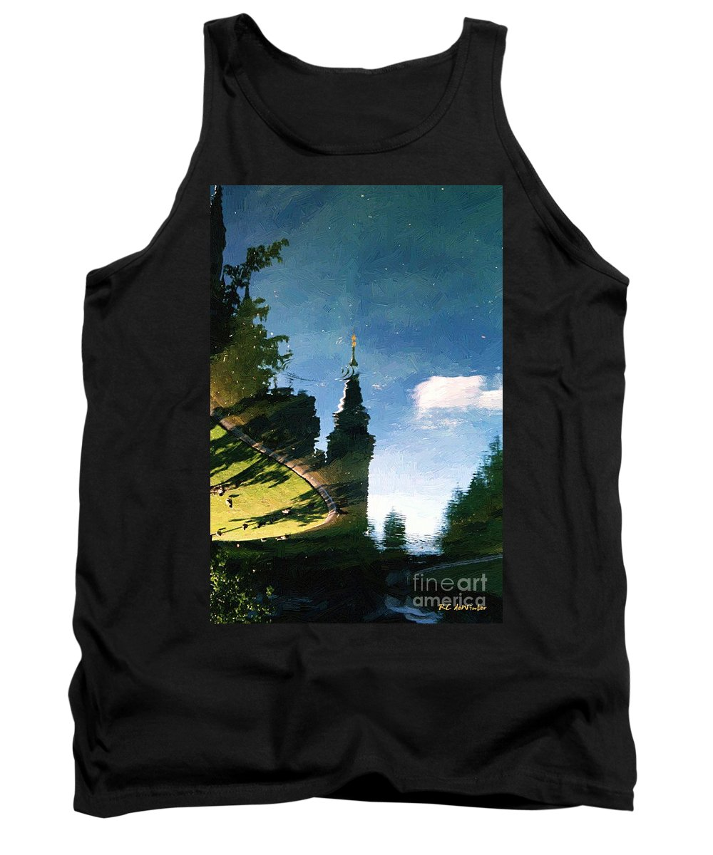 Castle Tank Top featuring the painting Castle In The Lake by RC DeWinter