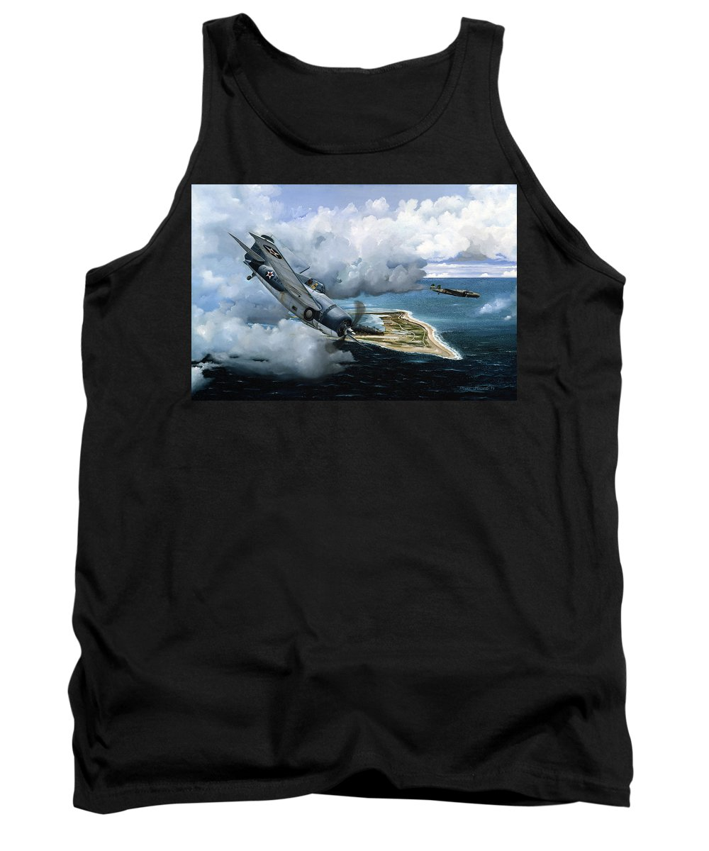 Military Tank Top featuring the painting Cat And Mouse Over Wake by Marc Stewart