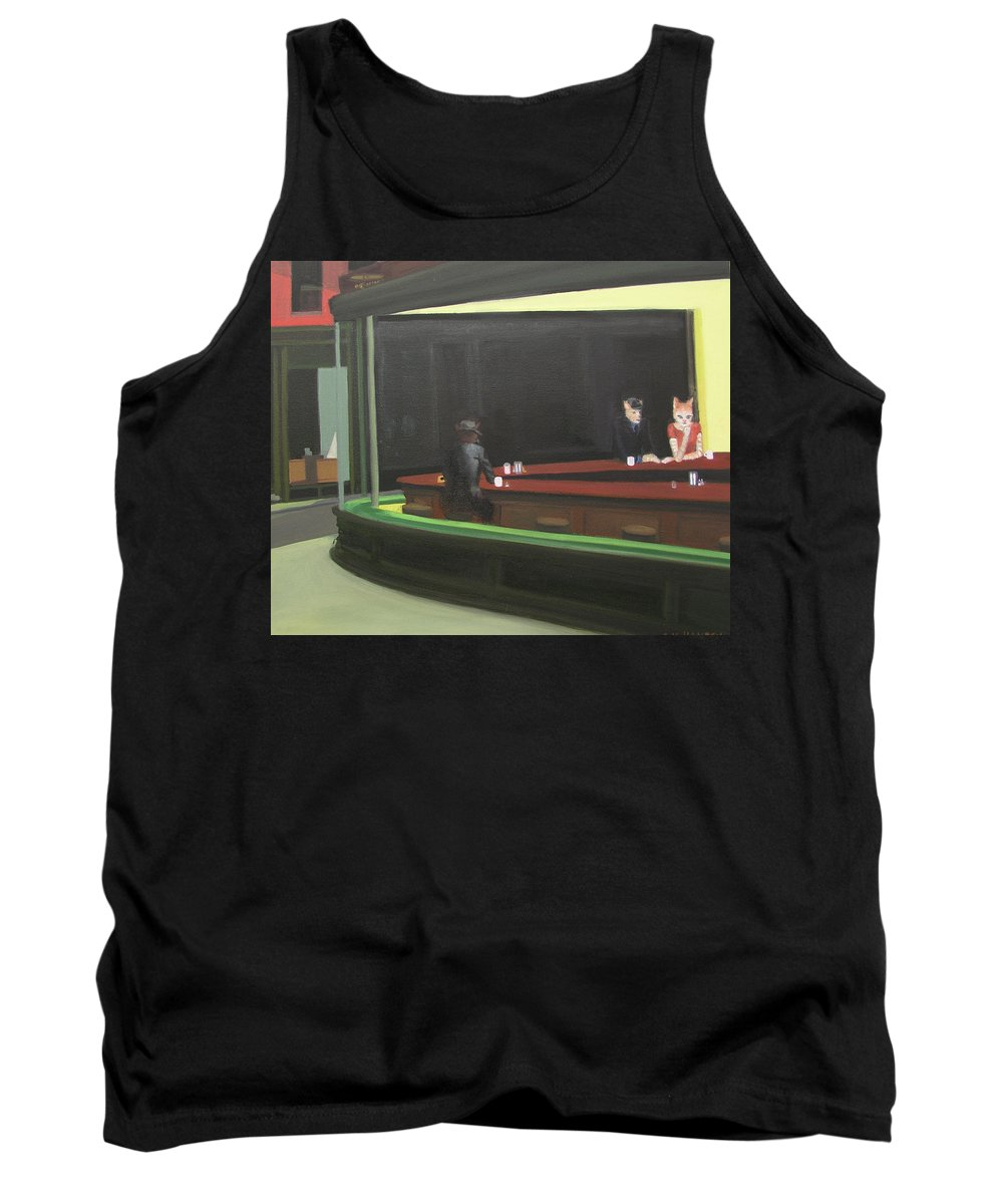 Nighthawks Tank Top featuring the painting Cat Hawks At The Diner by Gail Eisenfeld