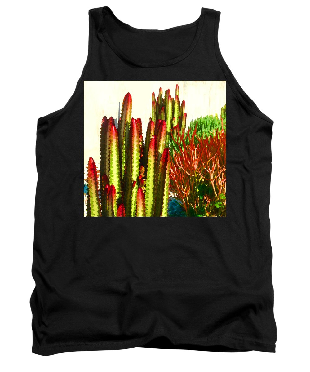 Landscape Tank Top featuring the painting Catus Garden by Amy Vangsgard