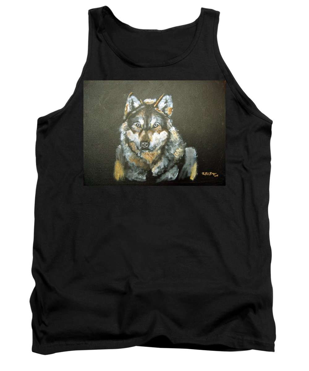 Mexican Wolf Tank Top featuring the painting Caught In The Head Lights by Richard Le Page