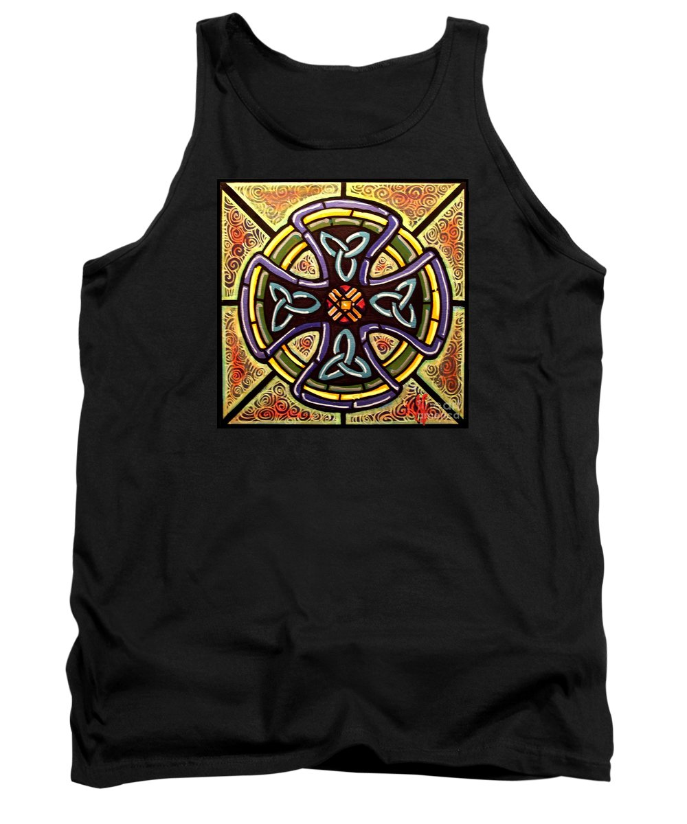 Celtic Tank Top featuring the painting Celtic Cross 2 by Jim Harris