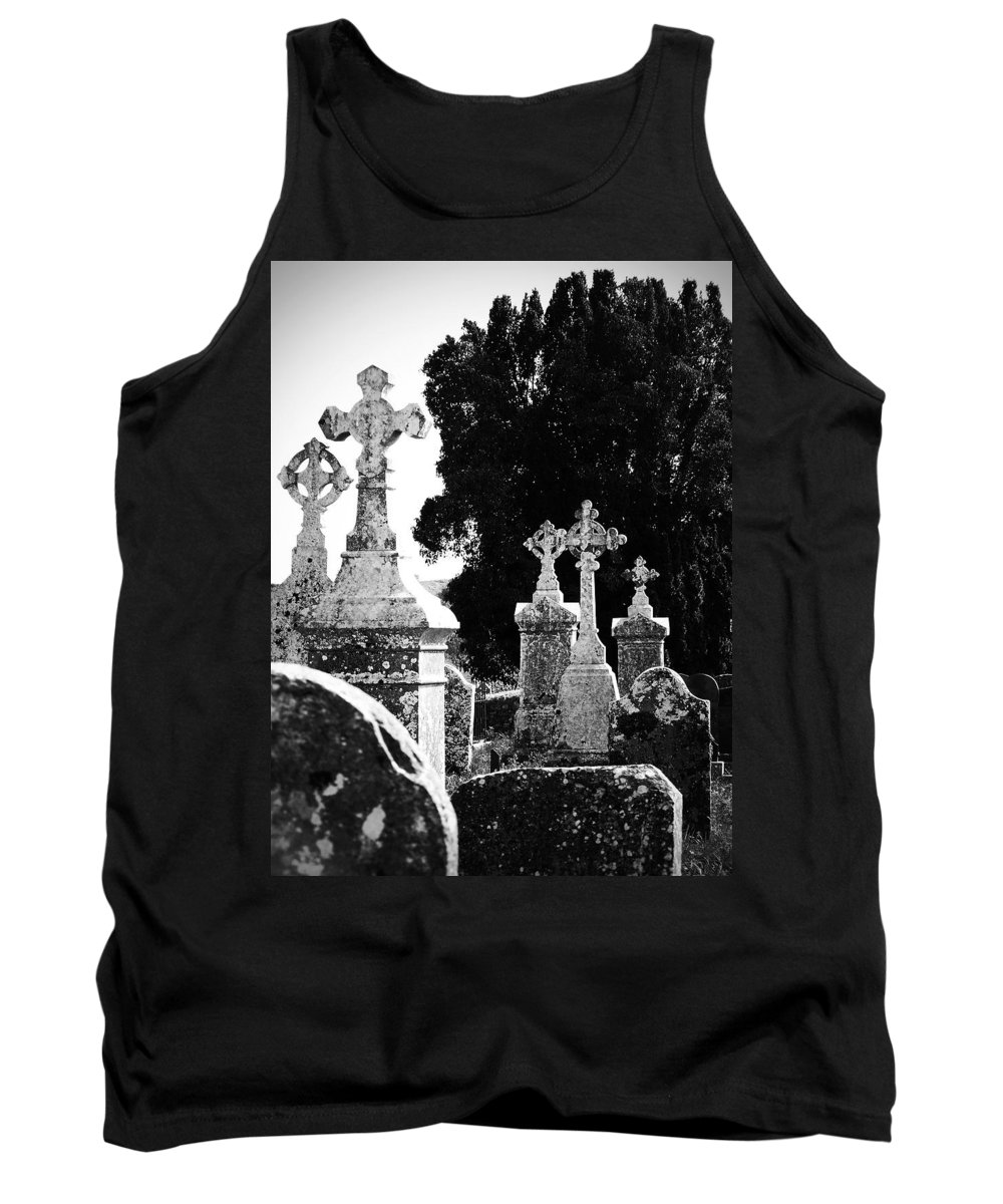 Celtic Tank Top featuring the photograph Celtic Crosses At Fuerty Cemetery Roscommon Ireland by Teresa Mucha