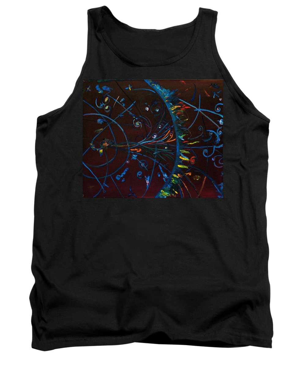 Cern Tank Top featuring the painting Cern Atomic Collision Physics And Colliding Particles by Gregory Allen Page