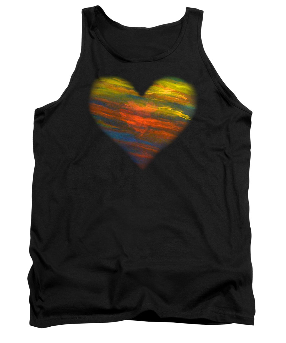 Chakras Tank Top featuring the painting Chakra Energy With Heart by Deborha Kerr