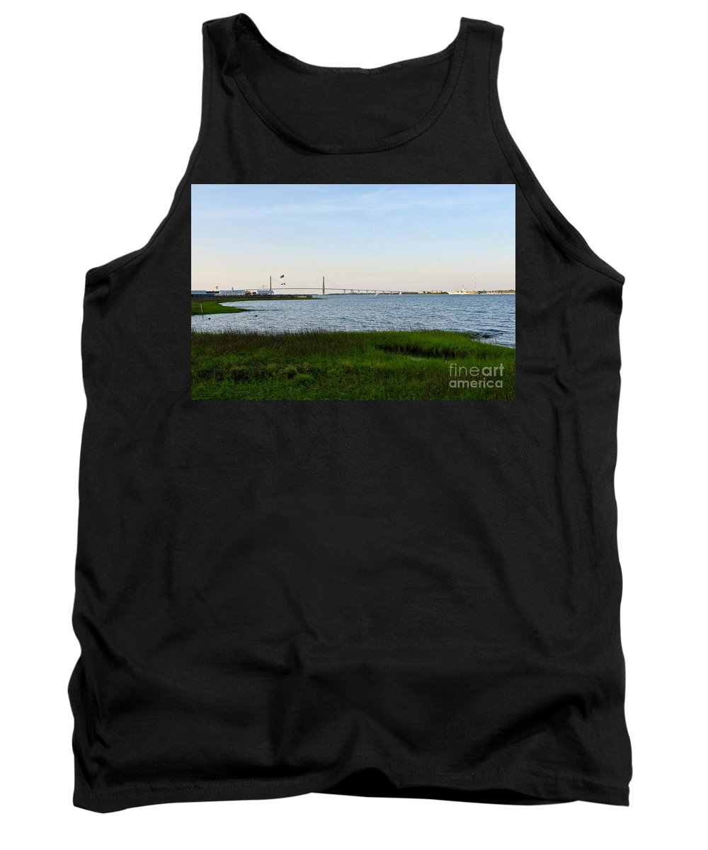 Bay Landscape Tank Top featuring the photograph Charleston South Carolina Waterfront Park During Sunset by Jeramey Lende