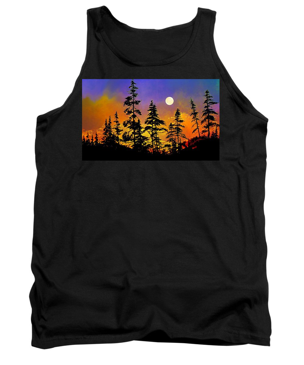 Trees Tank Top featuring the painting Chasing The Moon by Hanne Lore Koehler