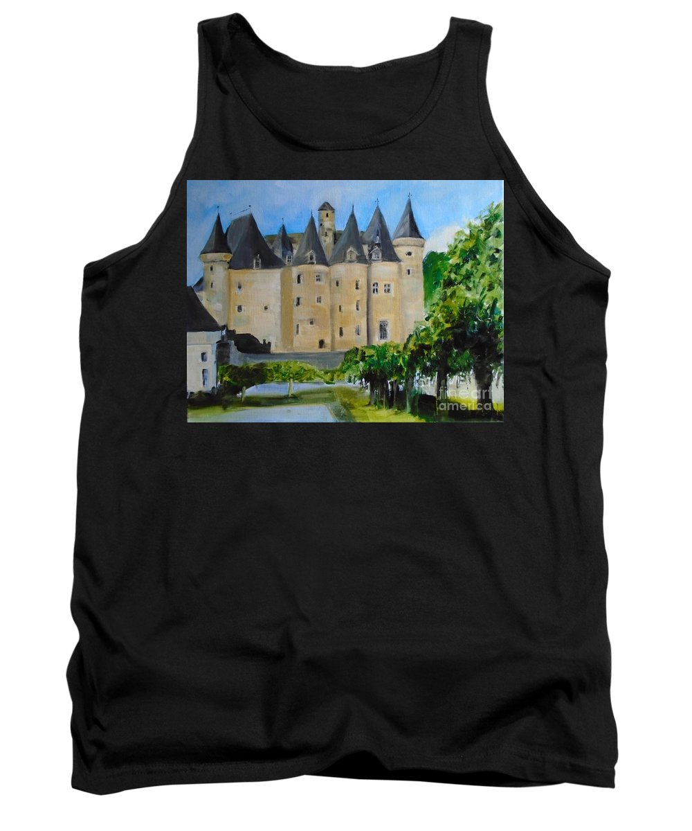 French Tank Top featuring the painting Chateau Jumilhac, France by Angela Cartner