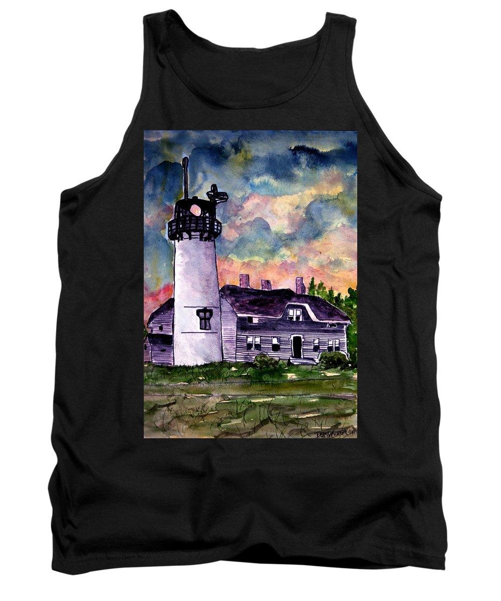 Lighthouse Tank Top featuring the painting Chatham Lighthouse Martha's Vineyard Massachuestts Cape Cod Art by Derek Mccrea