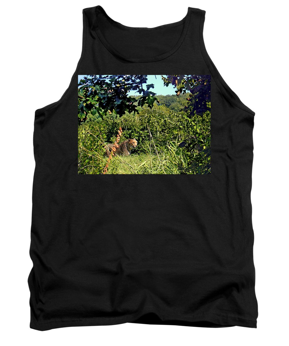 Cheetah Tank Top featuring the photograph Cheetah Zoo Landscape by Steve Karol