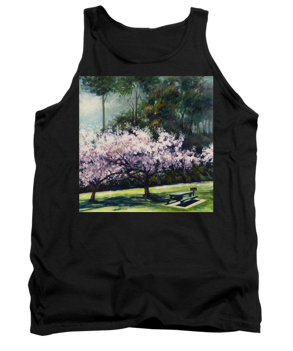 Trees Tank Top featuring the painting Cherry Blossoms by Rick Nederlof