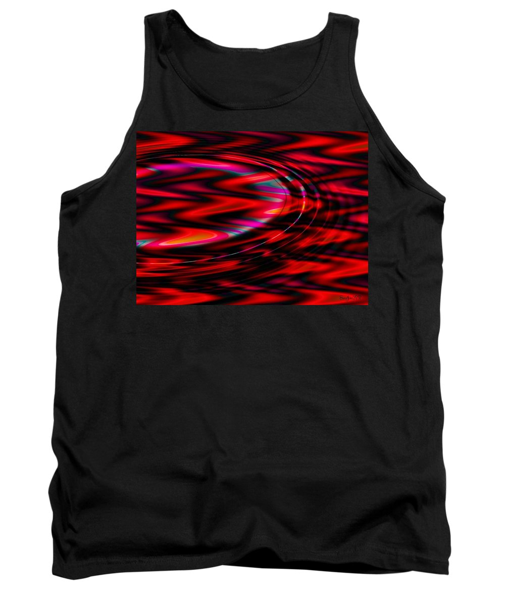 Wave Tank Top featuring the digital art Cherry Red by Robert Orinski