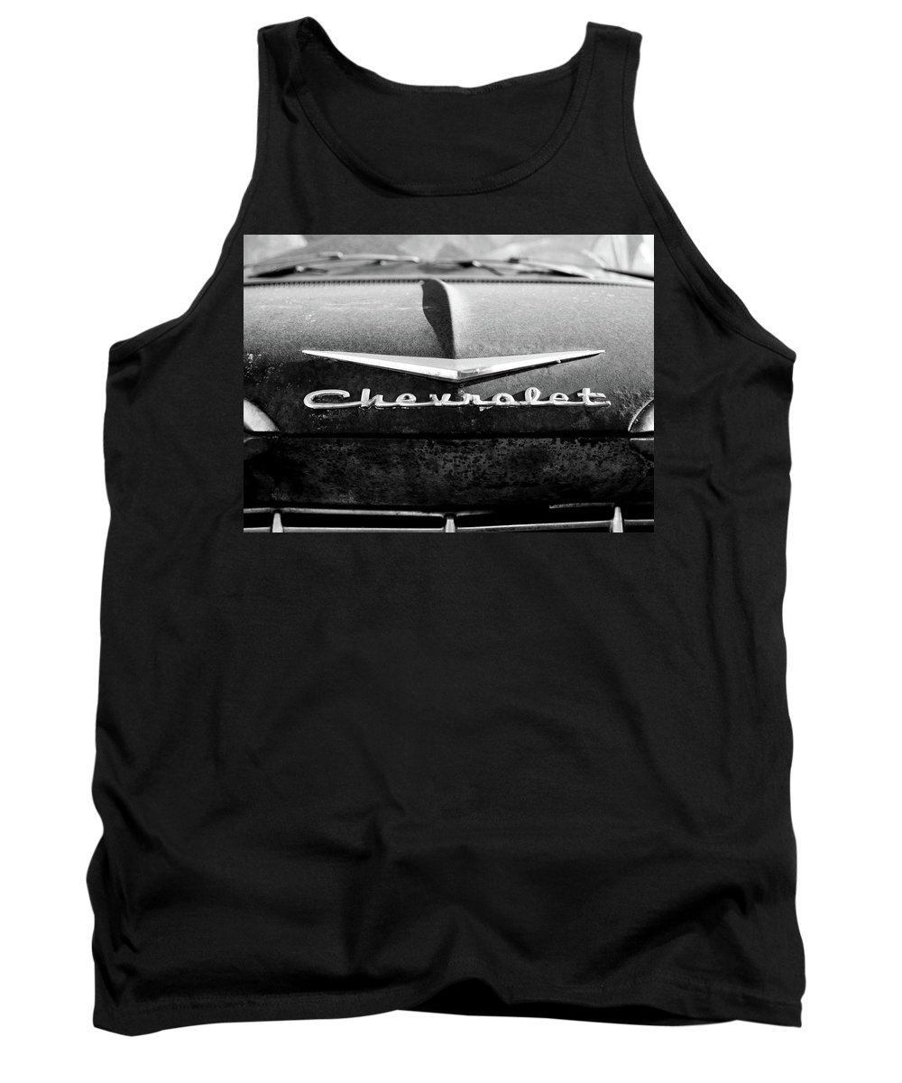 Chevrolet Tank Top featuring the photograph Chevrolet Hood 1 by Tamra Lockard