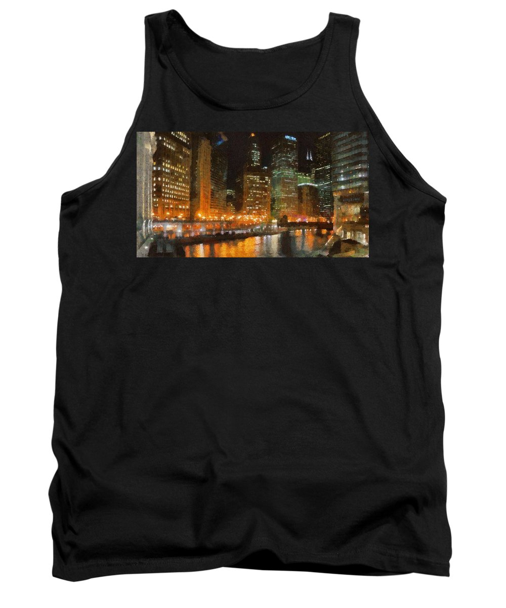 Chicago Tank Top featuring the painting Chicago At Night by Jeffrey Kolker