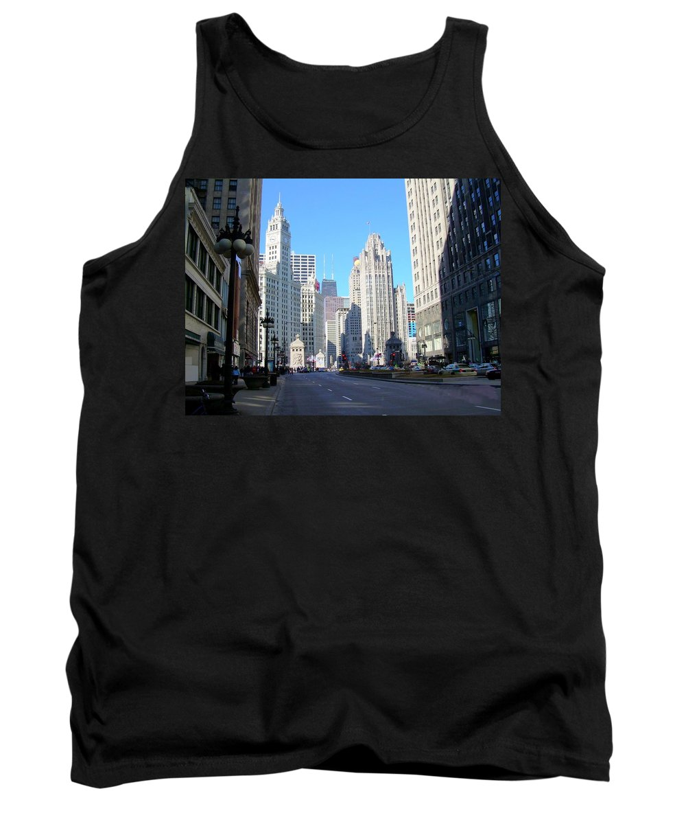 Chicago Tank Top featuring the photograph Chicago Miracle Mile by Anita Burgermeister