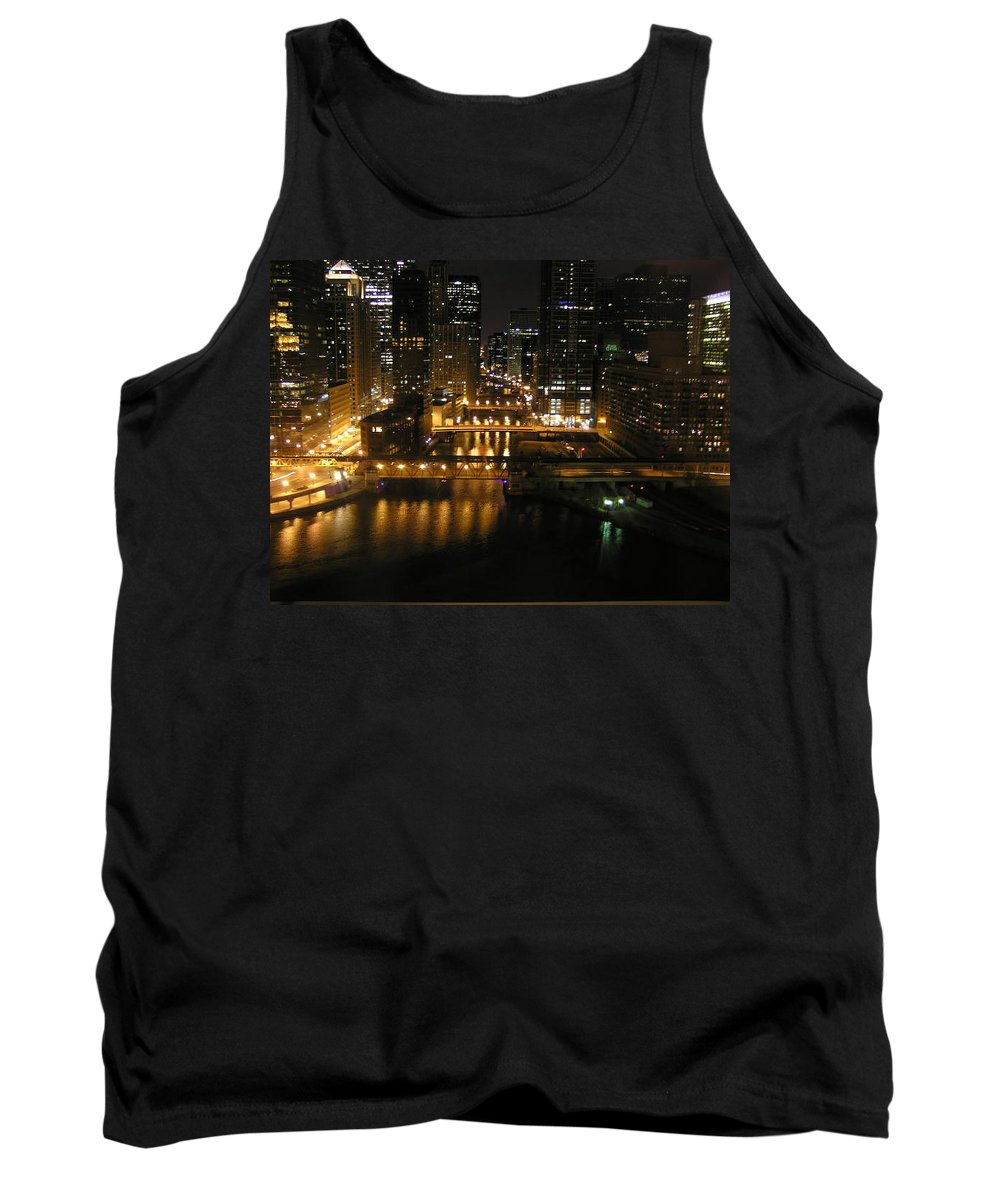 Chicago Tank Top featuring the photograph Chicago Night River Scene by Alice Markham