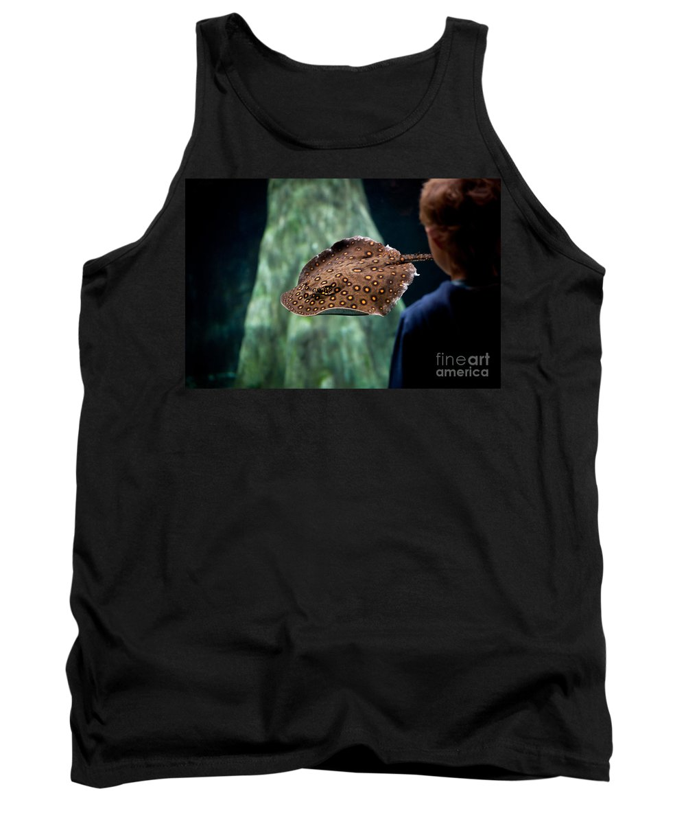 Paludarium Tank Top featuring the photograph Child Watching Spotted Ray Fish by Arletta Cwalina