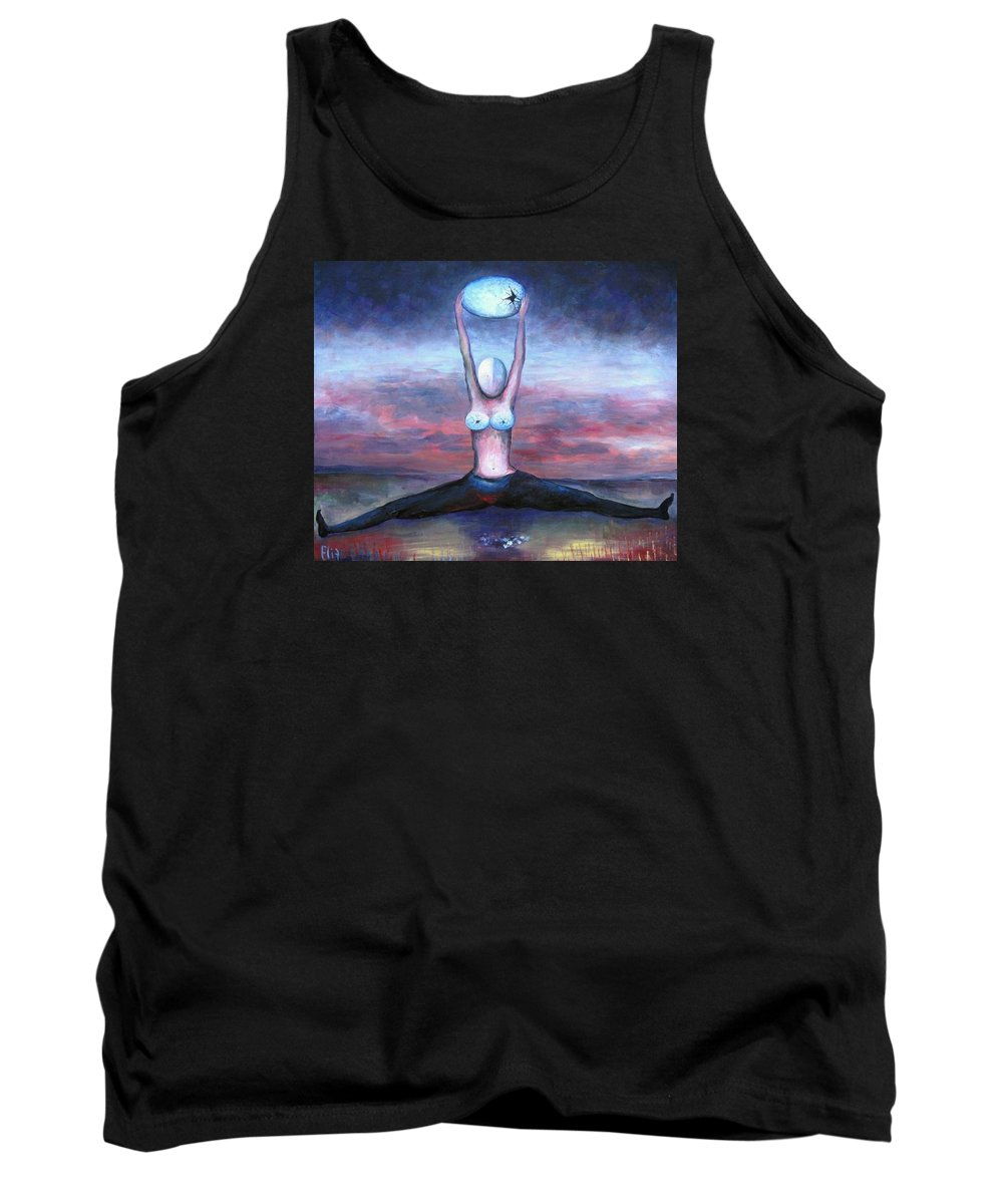 Sky Tank Top featuring the painting Childfree by Elisheva Nesis
