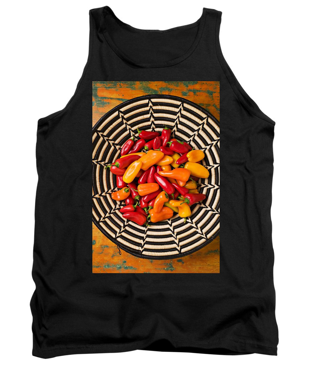 Chili Tank Top featuring the photograph Chili Peppers In Basket by Garry Gay