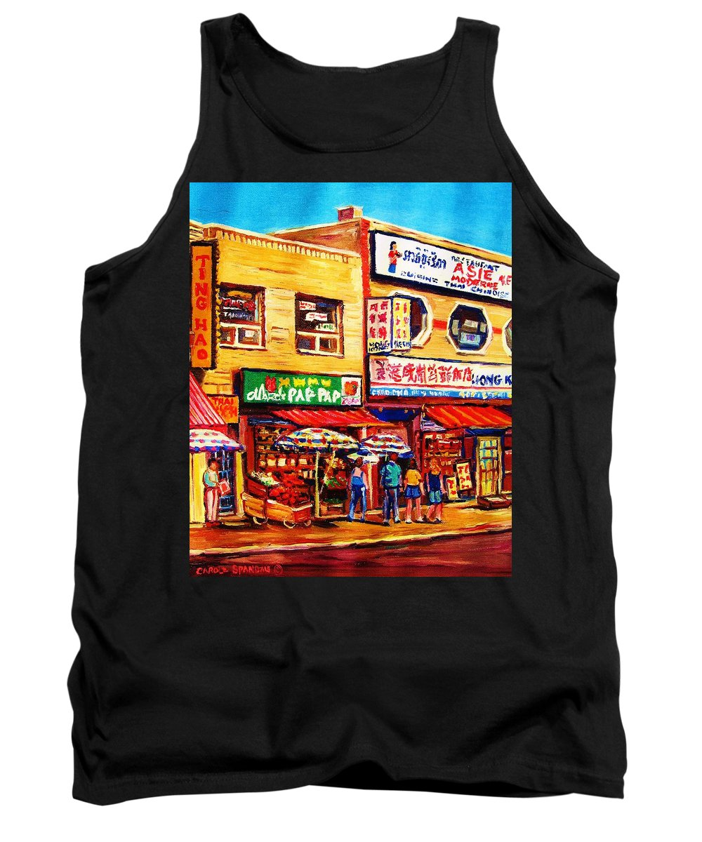Montreal Tank Top featuring the painting Chinatown Markets by Carole Spandau