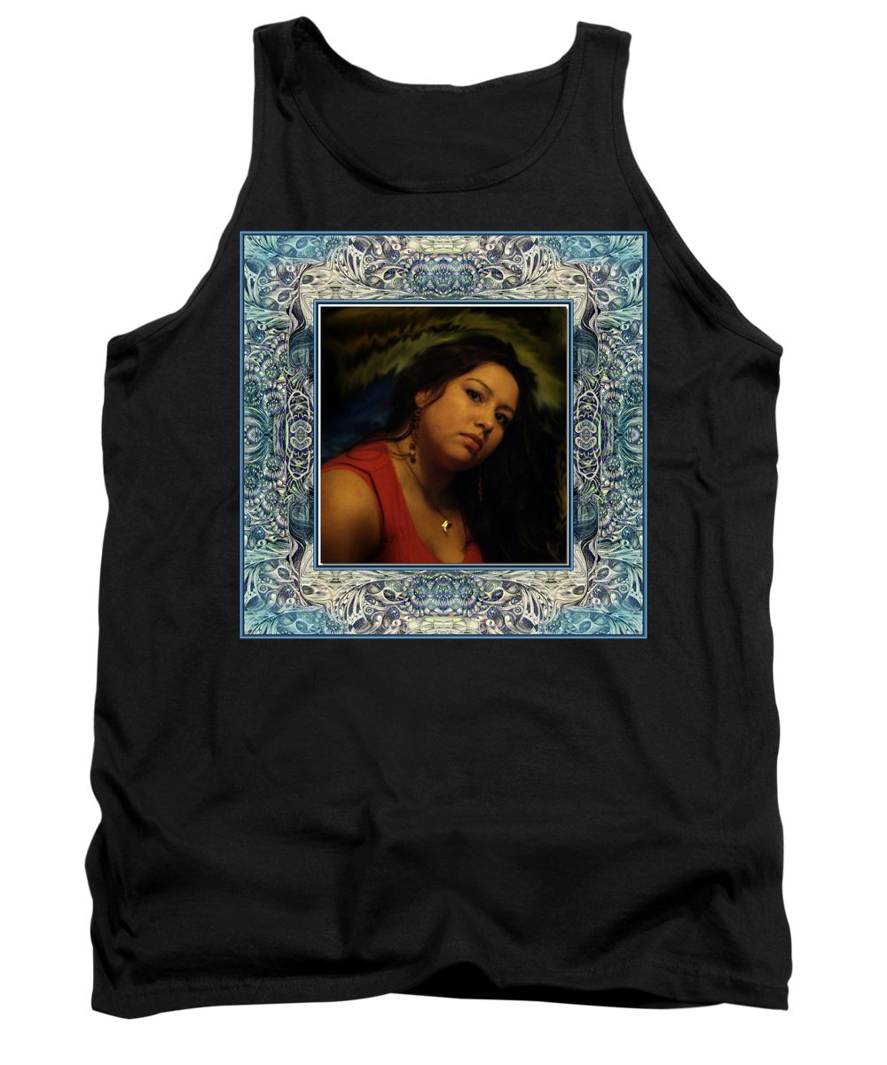 Portrait Glamour Fantasy Muse Tank Top featuring the digital art Christan Cameo by Otto Rapp