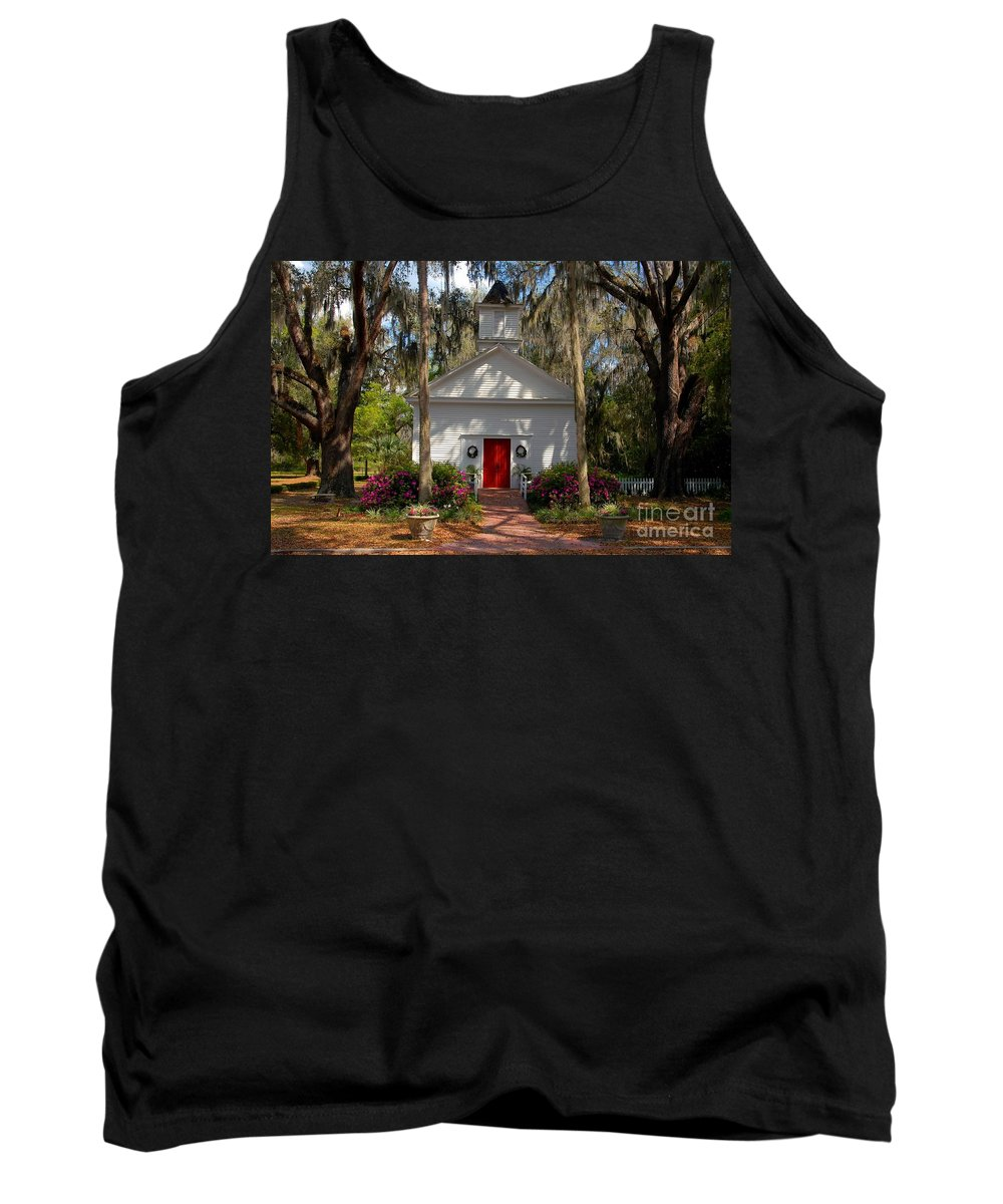 Micanopy Florida Tank Top featuring the photograph Church At Micanopy by David Lee Thompson
