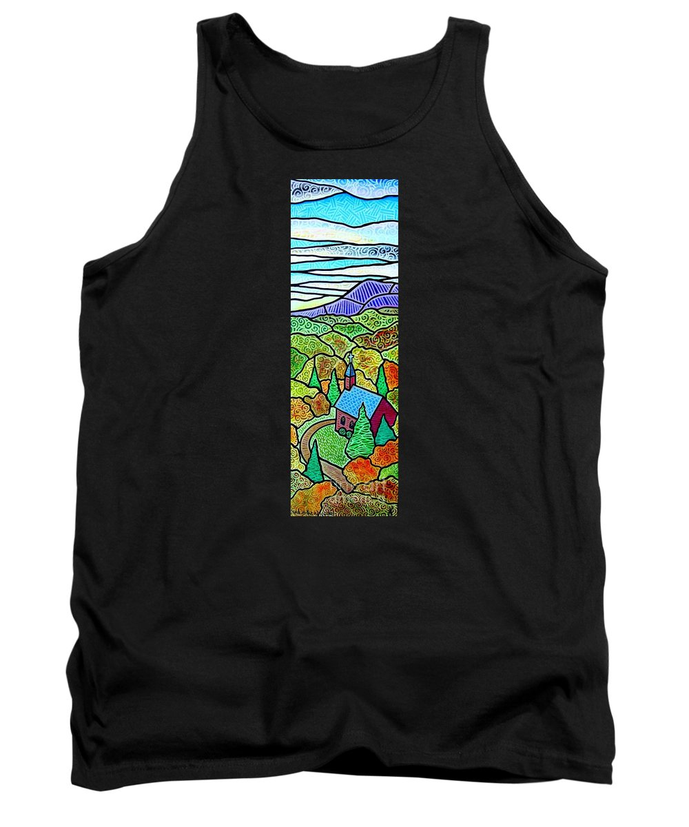 Church Tank Top featuring the painting Church In The Wildwood by Jim Harris