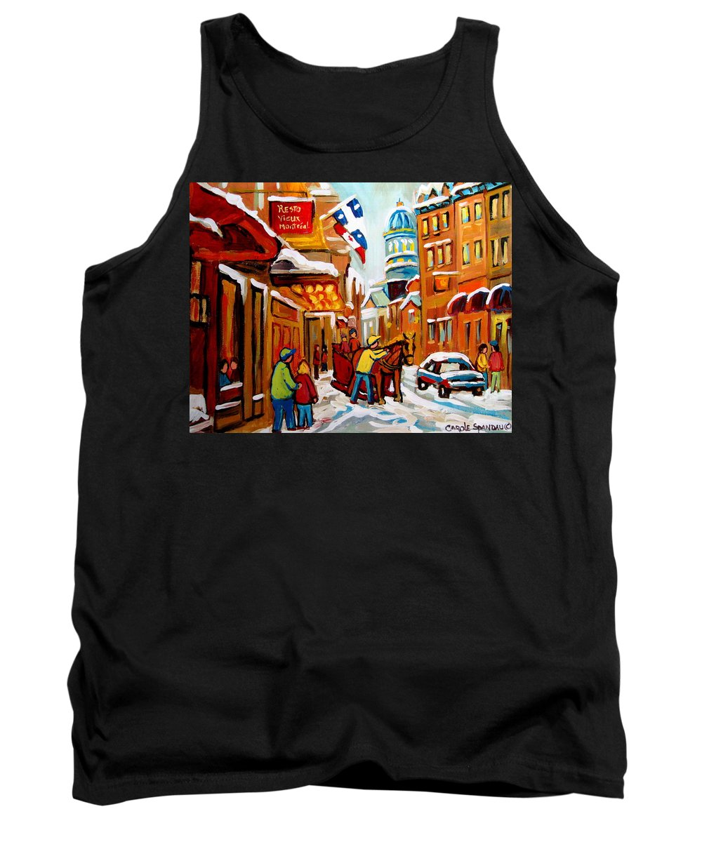 Church Steeet In Winter Tank Top featuring the painting Church Street In Winter by Carole Spandau