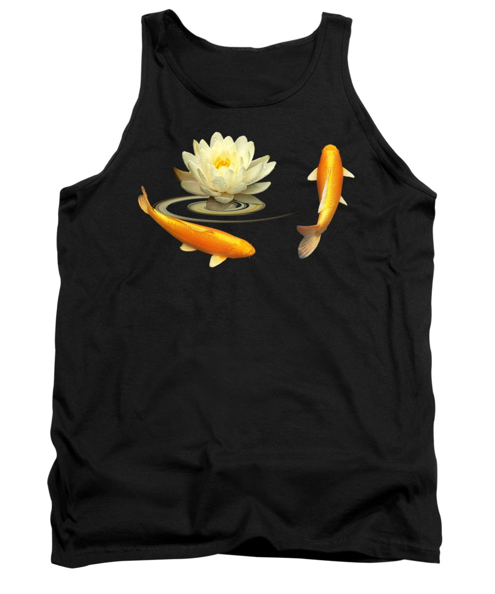 Japanese Koi Fish Tank Top featuring the photograph Circle Of Life - Koi Carp With Water Lily by Gill Billington