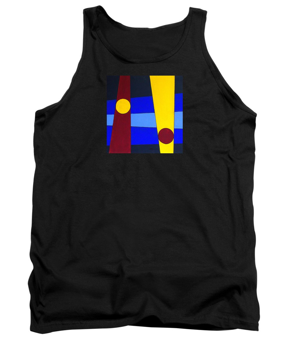 Abstract Tank Top featuring the painting Circles Lines Color by J R Seymour