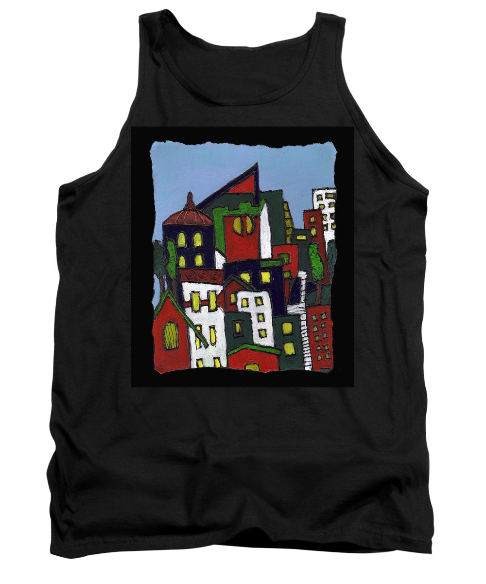 City Tank Top featuring the painting City At Christmas by Wayne Potrafka