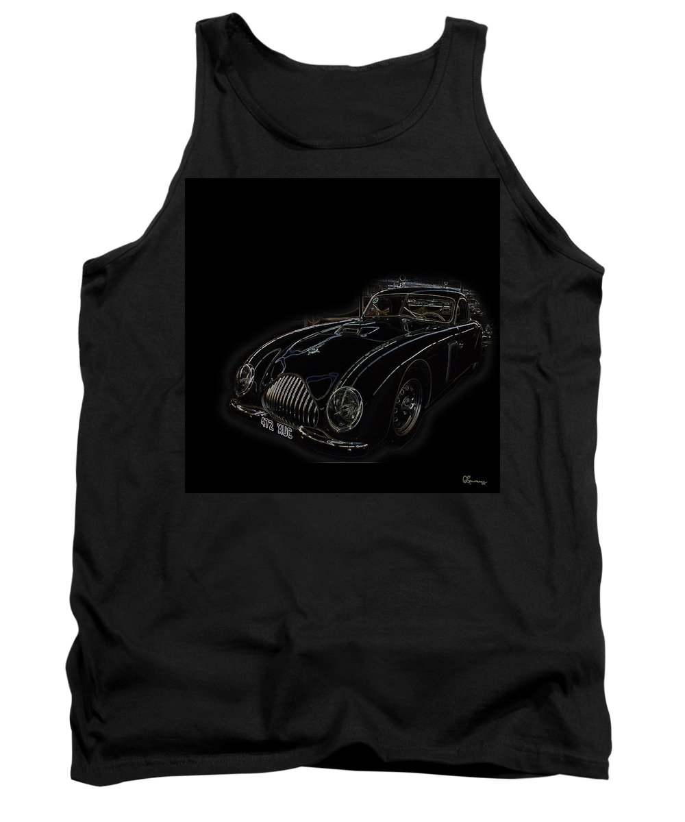 Classic Car Antique Show Room Vehicle Glowing Edge Black Light Chevy Dodge Ford Ride Tank Top featuring the photograph Classic 2 by Andrea Lawrence