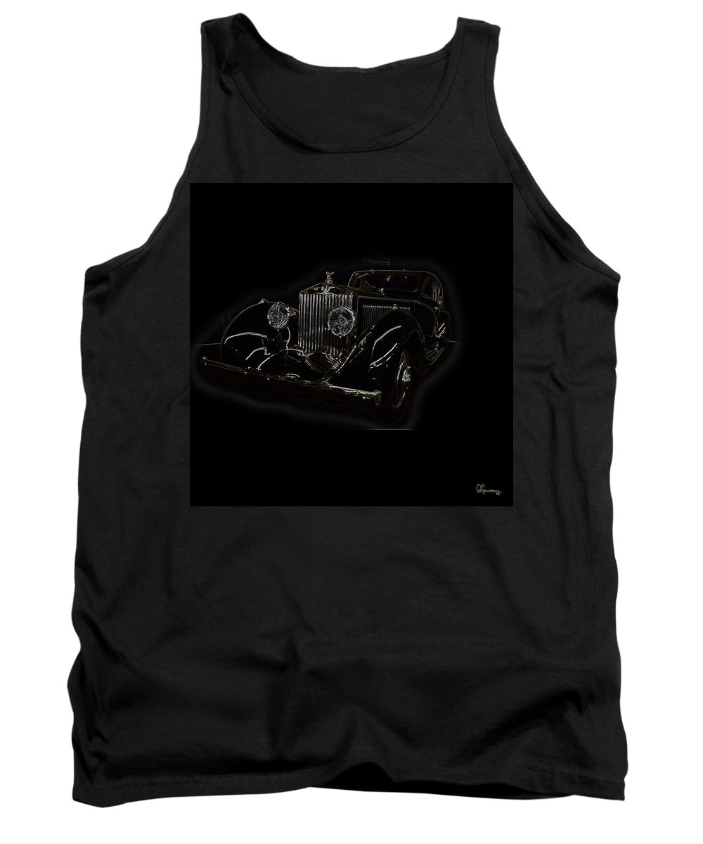Classic Car Antique Show Room Vehicle Glowing Edge Black Light Chevy Dodge Ford Ride Tank Top featuring the photograph Classic 3 by Andrea Lawrence