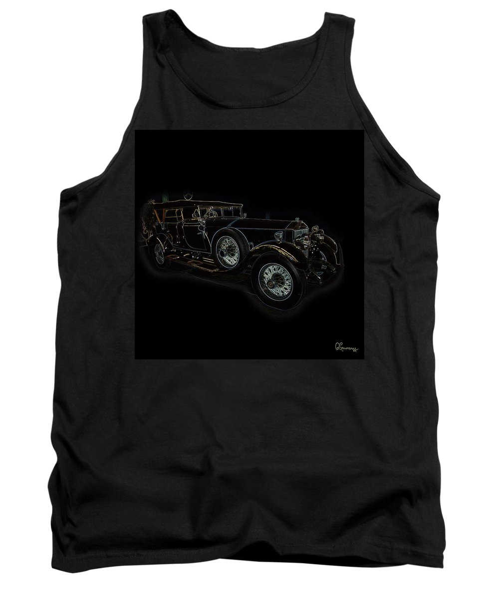 Classic Car Antique Show Room Vehicle Glowing Edge Black Light Chevy Dodge Ford Ride Tank Top featuring the photograph Classic 5 by Andrea Lawrence