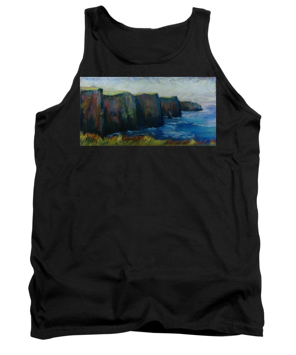 Seascape Tank Top featuring the pastel Cliffs Of Moher by Pat Snook