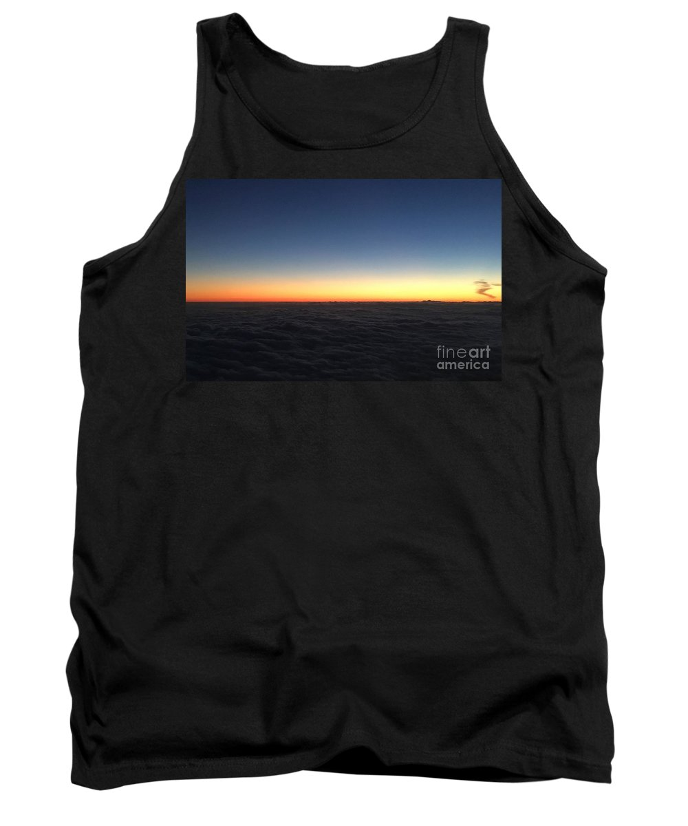 Cloud Orange Sky Horizon Blue Plane Airplane View Color Swirl Tank Top featuring the photograph Cloud Floor by Porter Taxin