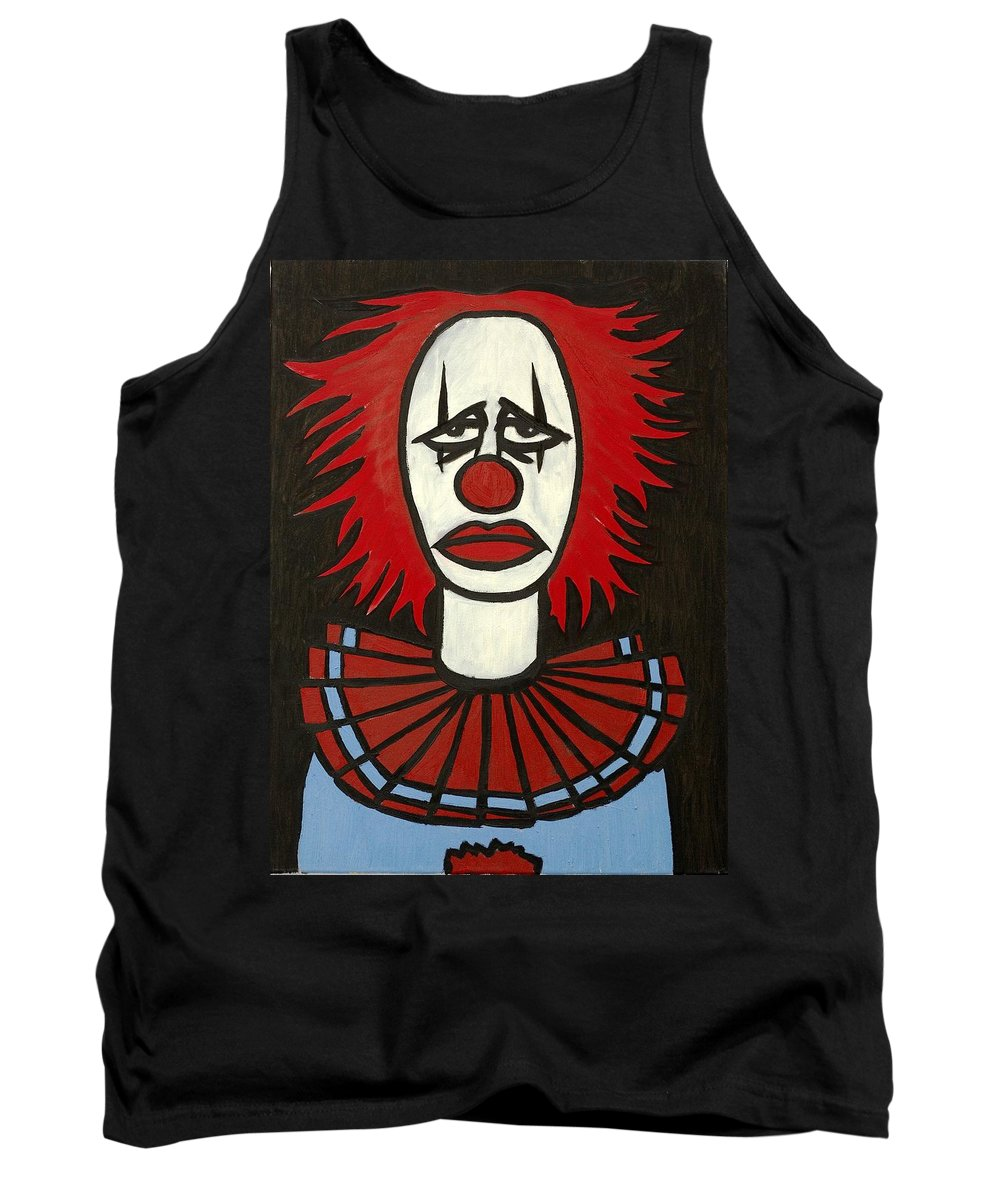Clay Tank Top featuring the painting Clown by Thomas Valentine