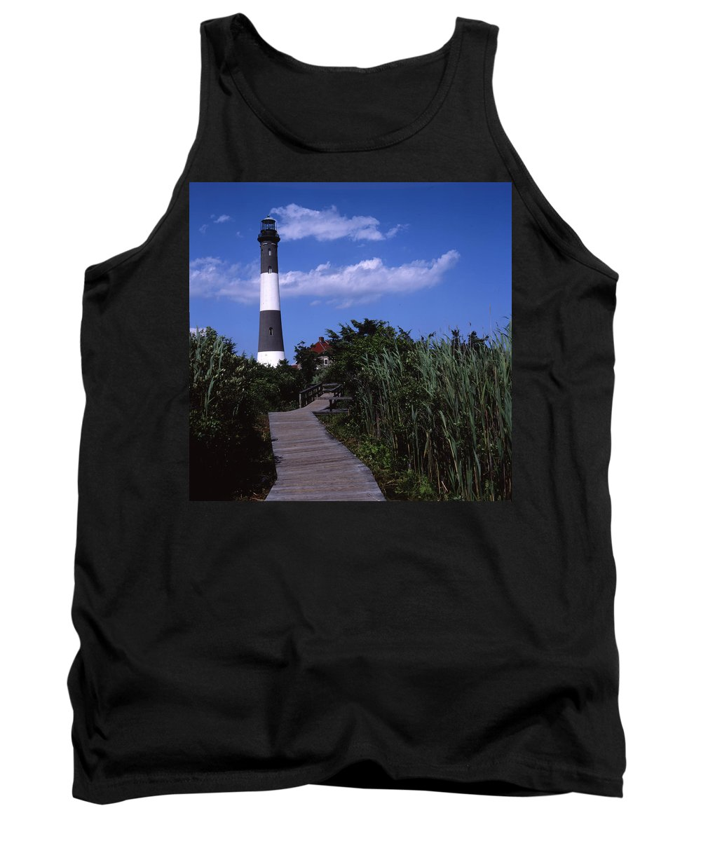 Landscape Lighthouse Fire Island Tank Top featuring the photograph Cnrf0702 by Henry Butz