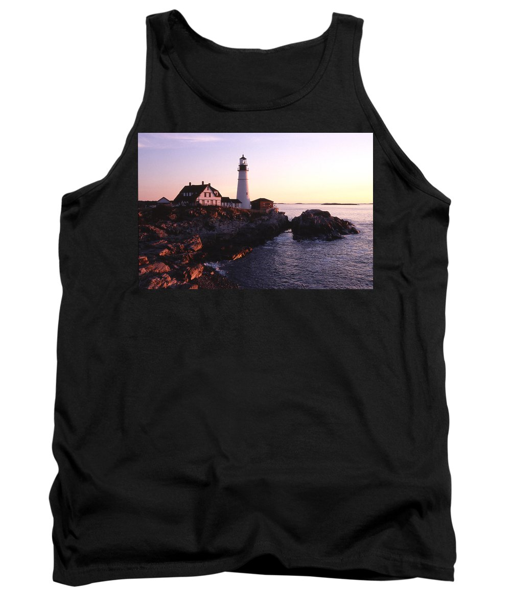 Landscape Lighthouse Nautical New England Portland Head Light Cape Elizabeth Tank Top featuring the photograph Cnrf0904 by Henry Butz