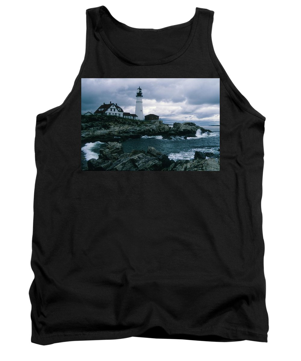 Landscape New England Lighthouse Nautical Storm Coast Tank Top featuring the photograph Cnrg0601 by Henry Butz
