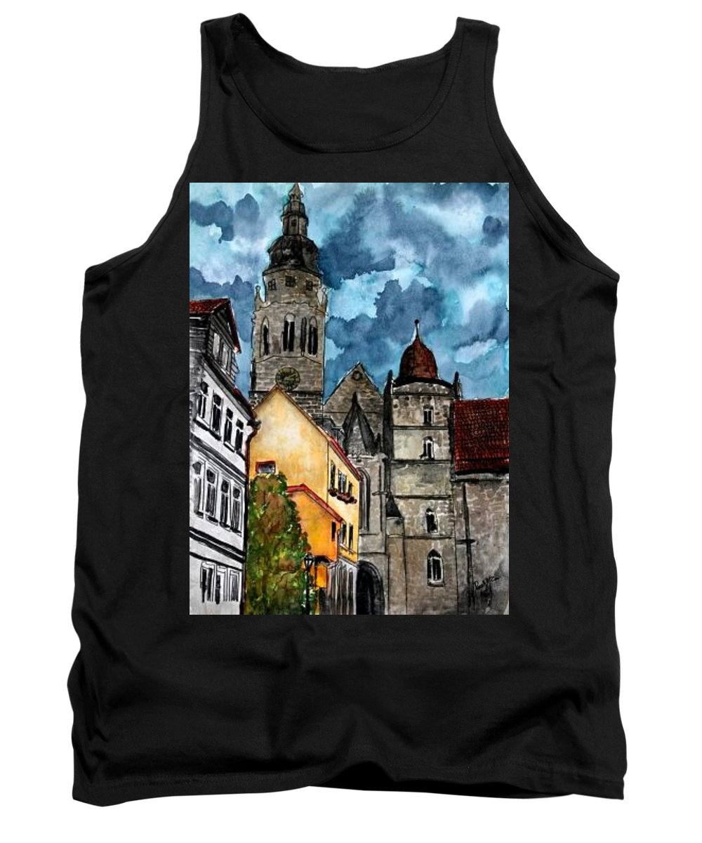 Germany Tank Top featuring the painting Coburg Germany Castle Painting Art Print by Derek Mccrea