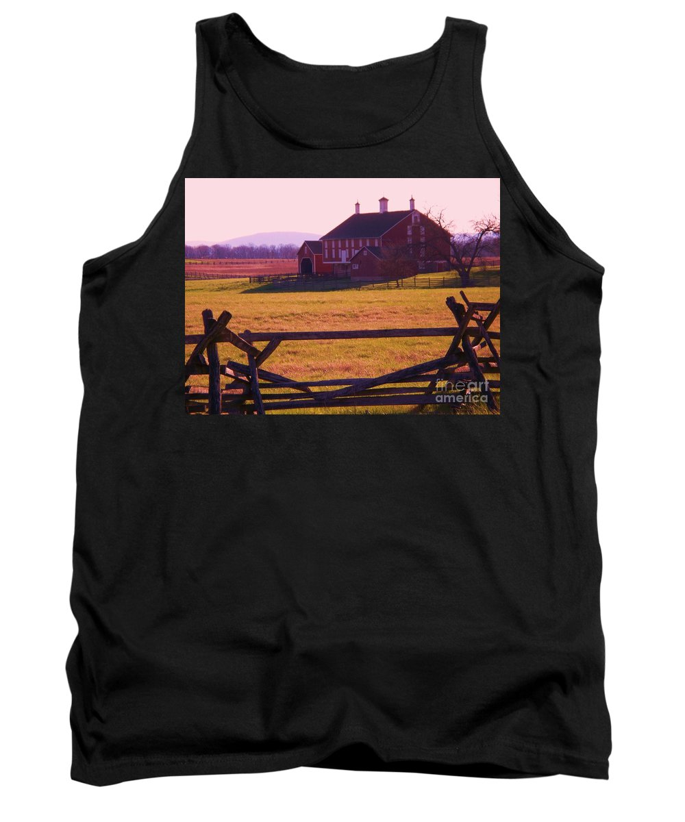 Codori Tank Top featuring the photograph Codori Barn Gettysburg by Eric Schiabor