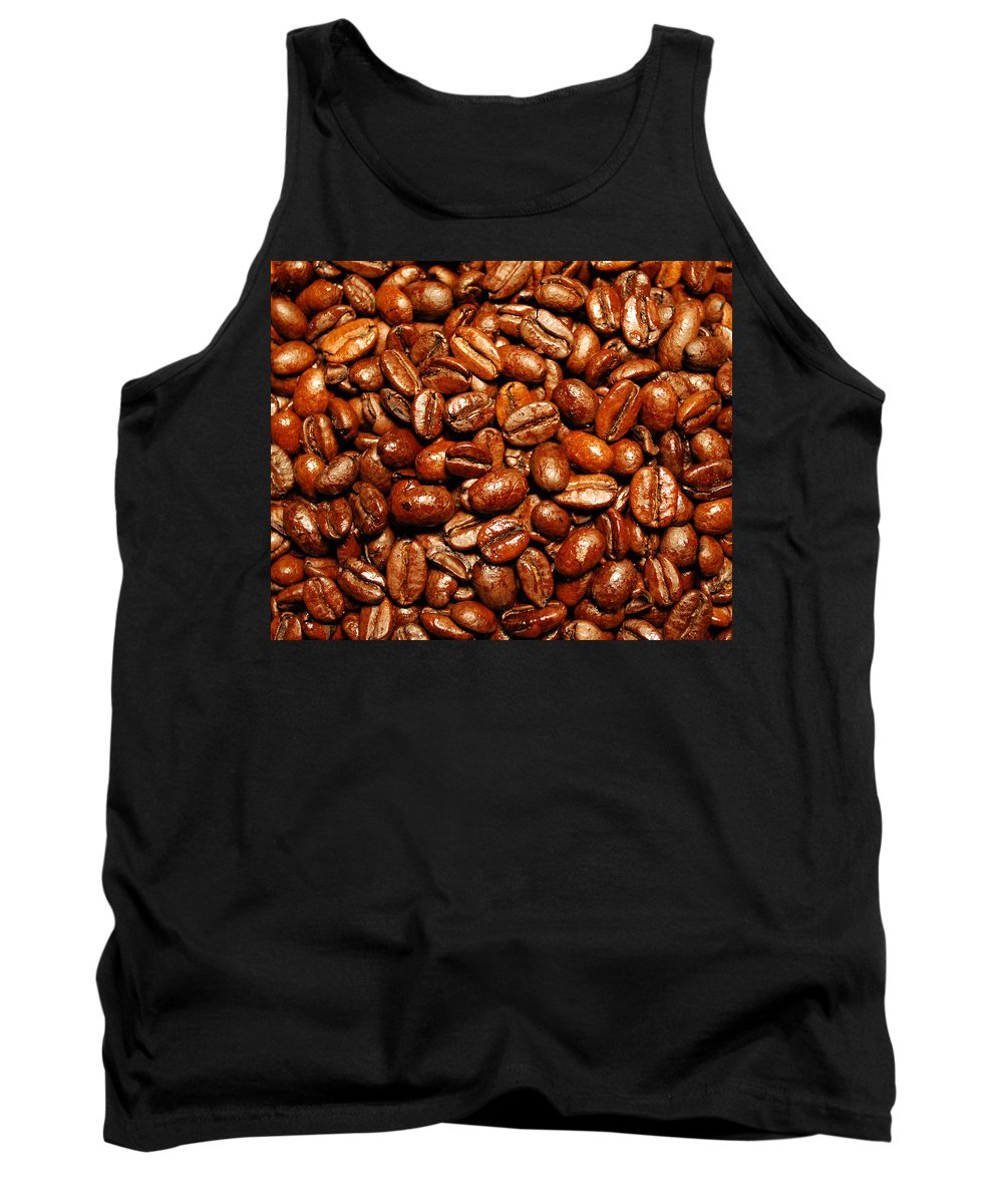 Coffee Tank Top featuring the photograph Coffee Beans by Nancy Mueller