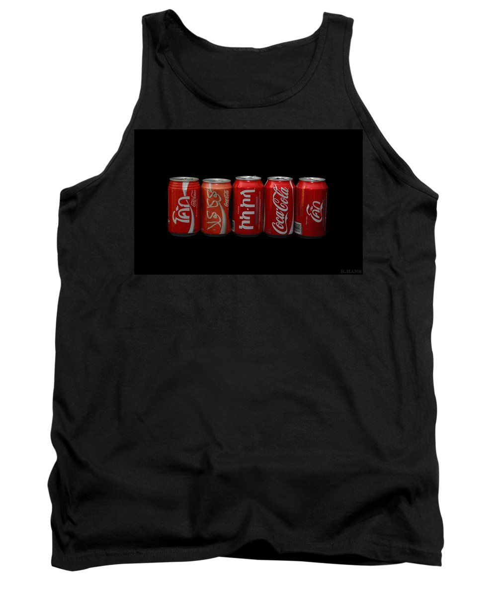 Red Tank Top featuring the photograph Coke Cans by Rob Hans